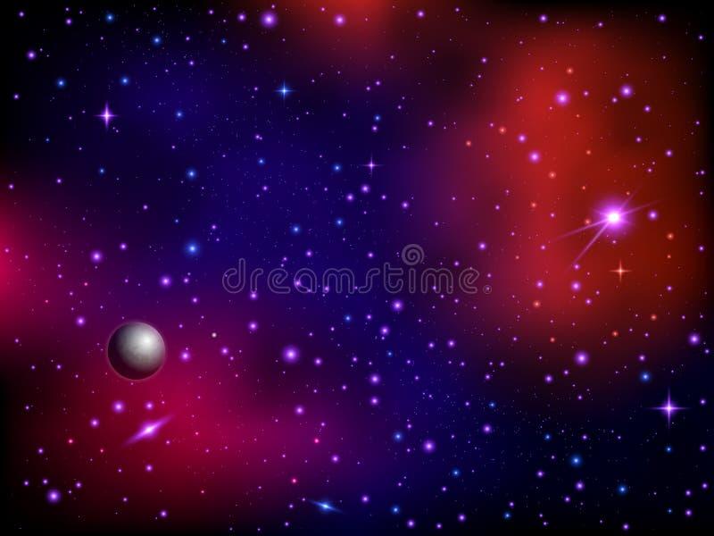 Bunter Raumgalaxiehintergrund mit Planeten und Sternen Milchstraße und stardust Grafikhintergrund Farbnebelfleck stock abbildung