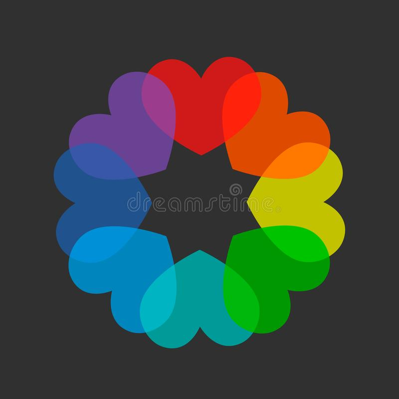 Bunter Regenbogen/Spektrum färbten Herzen vektor abbildung