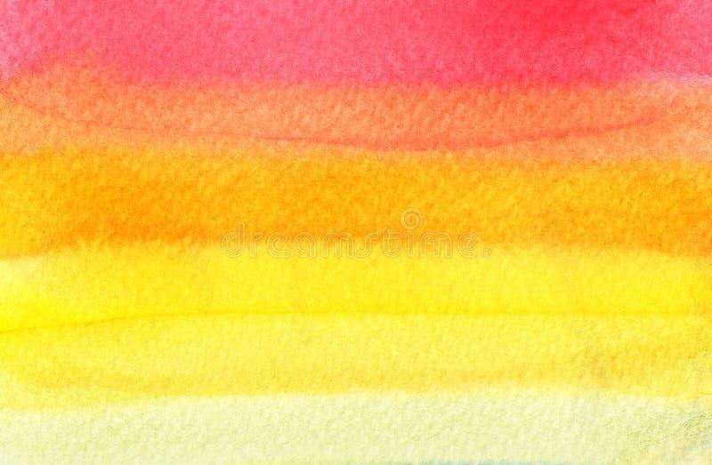 Bunter roter, orange und gelber Aquarellhintergrund - abstrakte Beschaffenheit stock abbildung