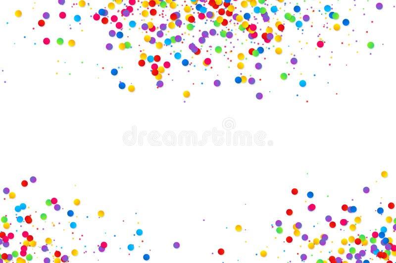 Bunter runder Konfettirahmen lokalisiert auf weißem Hintergrund lizenzfreie abbildung