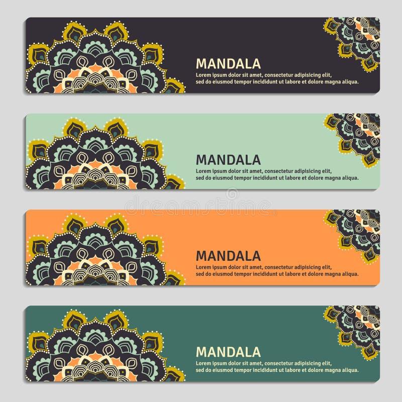 Bunter Satz dekorative Fahnen mit Mandala Weinlese decorat vektor abbildung