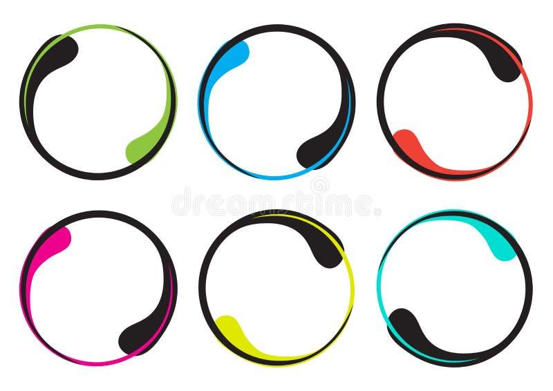 Bunter Satz des dekorativen runden Rahmens f?r Ihren Text, Grenze in Form eines Tropfens Vektor stock abbildung