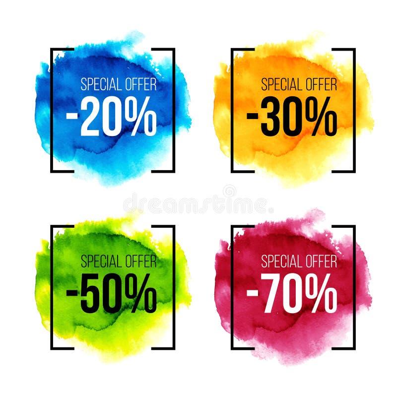 Bunter Satz des Sonderangebotverkaufs auf Aquarellspritzen lizenzfreie abbildung