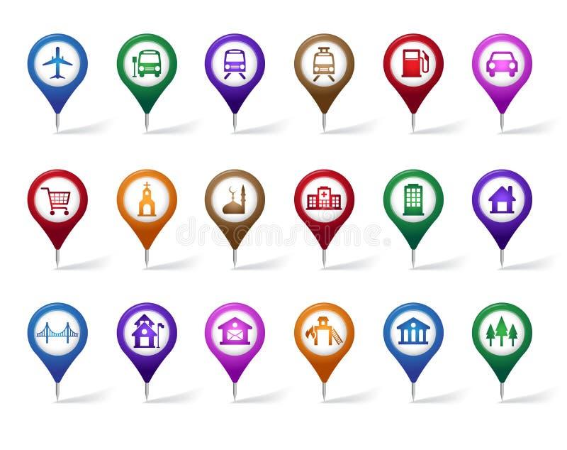Bunter Satz des Standorts, der Plätze, der Reise und des Bestimmungsortes Pin Icons lizenzfreie abbildung