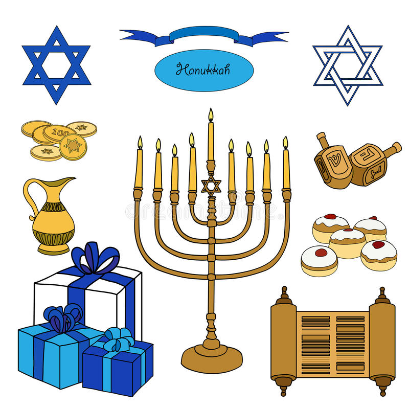 Bunter Satz des Vektors Chanukka-Gegenstände Jüdische Feiertagsillustration lizenzfreie abbildung
