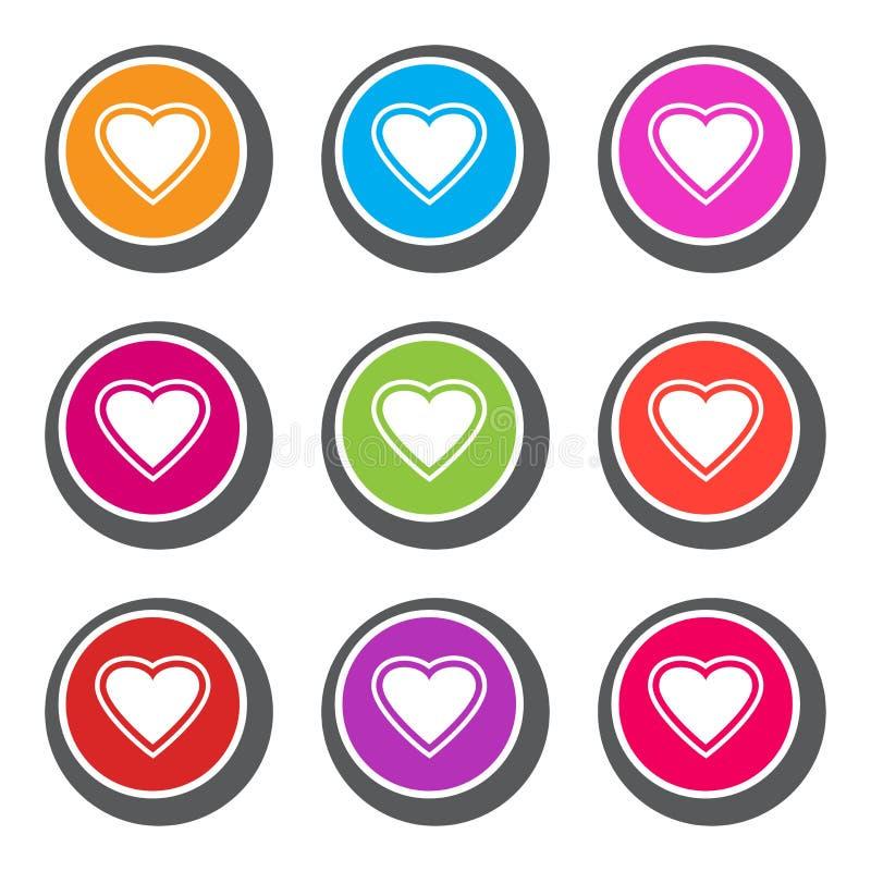 Bunter Satz Knöpfe mit Herzen für Valentinstag Auch im corel abgehobenen Betrag stock abbildung