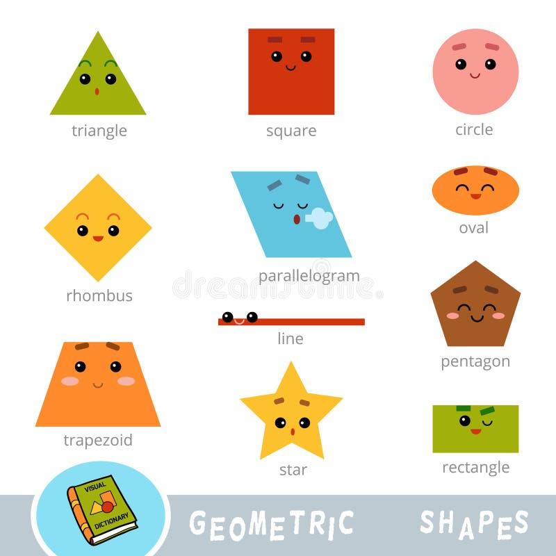 Bunter Satz verschiedene geometrische Formen Sichtwörterbuch stock abbildung