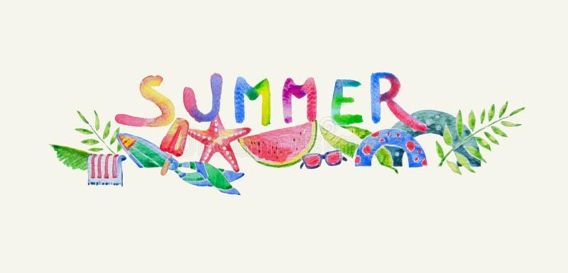 Bunter Sommer-Aufkleber im Aquarell schuf eigenhändig gezeichnet, Strand lizenzfreies stockbild