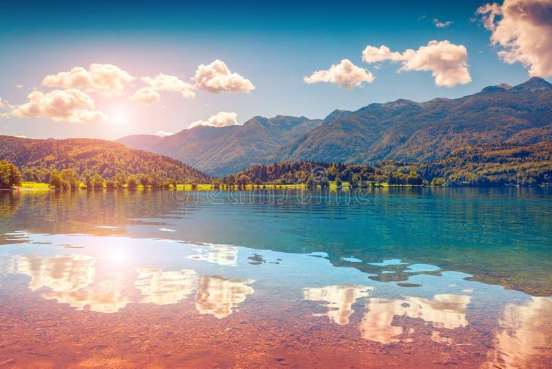 Bunter Sommersonnenaufgang auf dem Bohinj See lizenzfreie stockfotografie