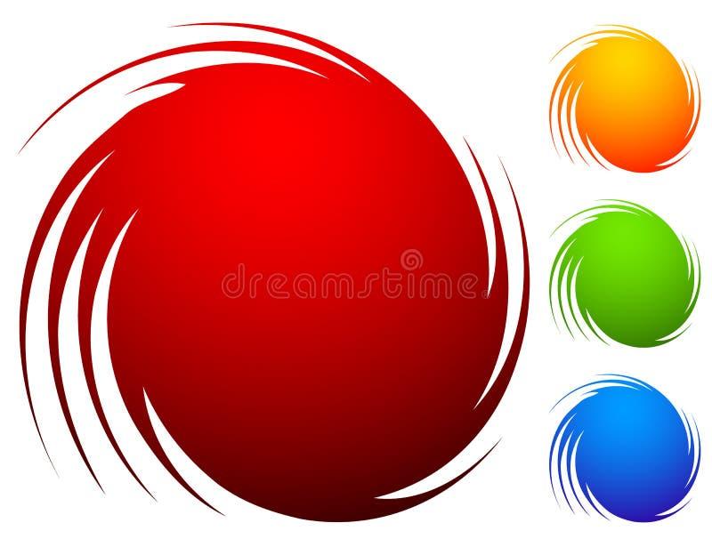 Bunter Spiralensatz Abstrakter Strudel, Rotationsgestaltungselemente mit lizenzfreie abbildung