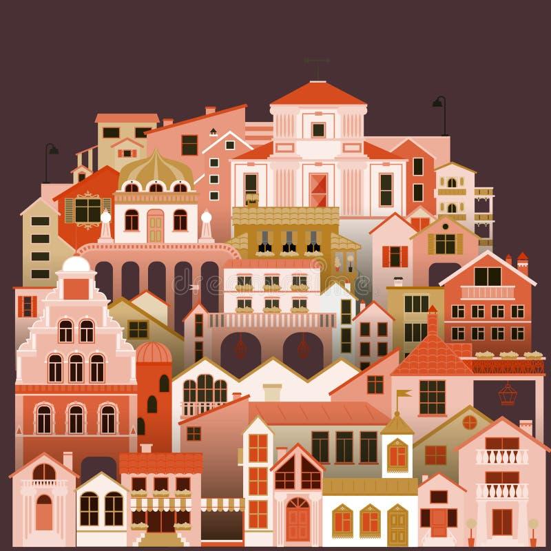 Bunter Stadtwohnungshintergrund Vektorstadtbild mit Gebäuden vektor abbildung
