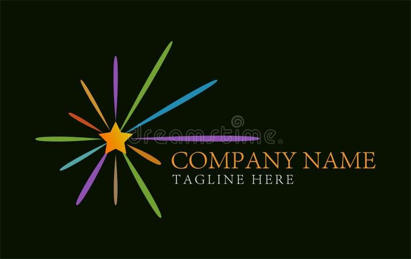Bunter Stern sprengte abstraktes Logo Design-Konzept und Visitenkarteschablone lizenzfreie abbildung