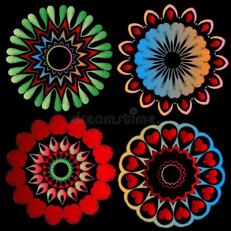 Bunter Stickereimandala-Mustersatz Vector dekorativen Hintergrund Runde abstrakte ethnische Artschmutzmandalen mit Tapisserie stock abbildung