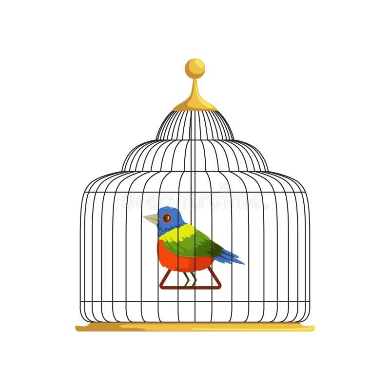 Bunter tropischer Vogel, der auf Dreieckschwingen im antiken hängenden Käfig sitzt Haus für gefiederte Schaffung Flaches Vektorde stock abbildung