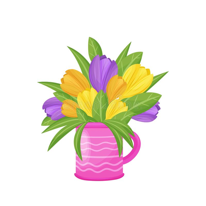 Bunter Tulpenblumenstrauß im rosa Vase Auch im corel abgehobenen Betrag stock abbildung