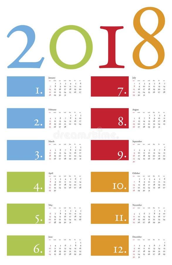 Bunter und eleganter Kalender für Jahr 2018 stock abbildung