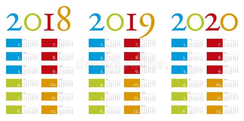 Bunter und eleganter Kalender jahrelang 2018, 2019 und 2020 vektor abbildung