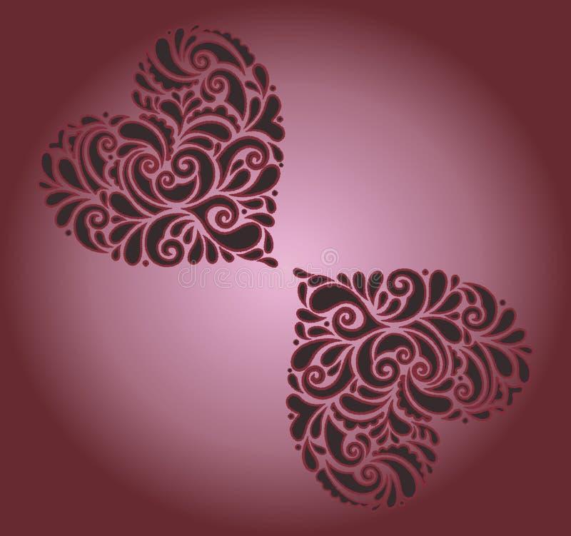 Bunter und schattierter Hintergrund, der die rotierenden Herzen betrachten einander computererzeugter Illustrationsentwurf hat lizenzfreie abbildung