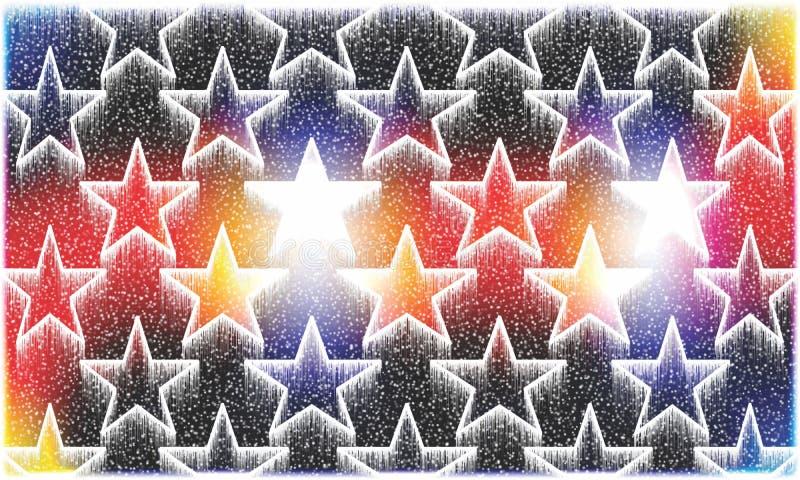 Bunter und schattierter Hintergrund, der Schneefall und glühende Sterne für computererzeugten Illustrationsentwurf des Weihnachts vektor abbildung