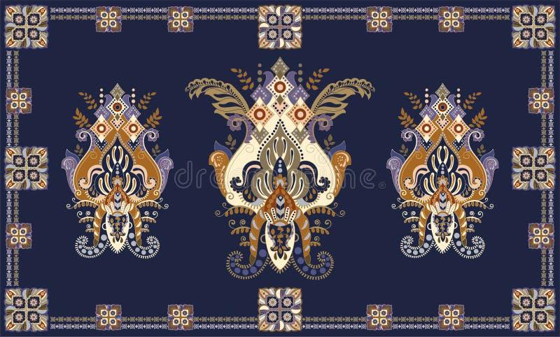 Bunter ungarischer Vektorentwurf für Wolldecke, Tuch, Teppich, Gewebe, Gewebe, Abdeckung Stilisierte dekorative mit Blumenmotive stock abbildung