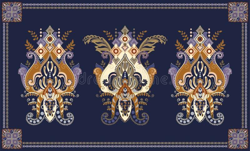 Bunter ungarischer Vektorentwurf f?r Wolldecke, Tuch, Teppich, Gewebe, Gewebe, Abdeckung Stilisierte dekorative mit Blumenmotive stock abbildung
