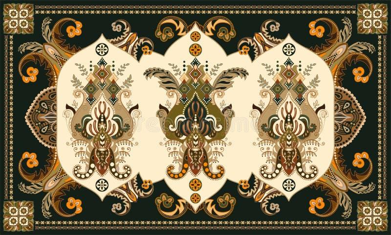 Bunter ungarischer Vektorentwurf f?r Wolldecke, Tuch, Teppich, Gewebe, Gewebe, Abdeckung Stilisierte dekorative mit Blumenmotive lizenzfreie abbildung