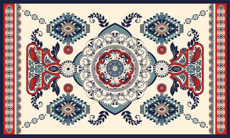 Bunter ungarischer Vektorentwurf f?r Wolldecke, Tuch, Teppich, Gewebe, Gewebe, Abdeckung Stilisierte dekorative mit Blumenmotive vektor abbildung