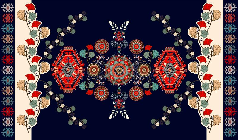 Bunter ungarischer Vektormit blumenentwurf für Wolldecke, Tuch, Teppich, Gewebe, Gewebe, Abdeckung Stilisiertes mit Blumendekorat lizenzfreie abbildung