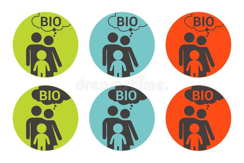 Bunter Vektoraufkleber der Biofamilie Organische Kennsatzfamilie vektor abbildung