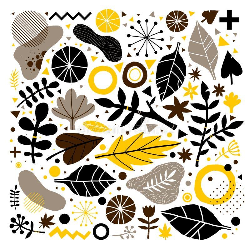 Bunter Vektorhintergrund mit Hand gezeichneten Florenelementen Kann für die Werbung, Webdesign und Printmedien verwendet werden stock abbildung