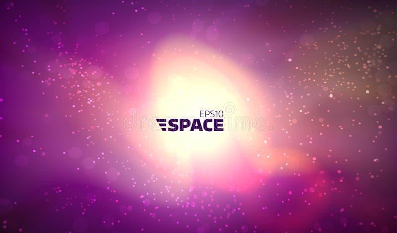 Bunter Vektorraumhintergrund Glühender Nebelfleck mit Sonne und Sternen Universumillustration stock abbildung
