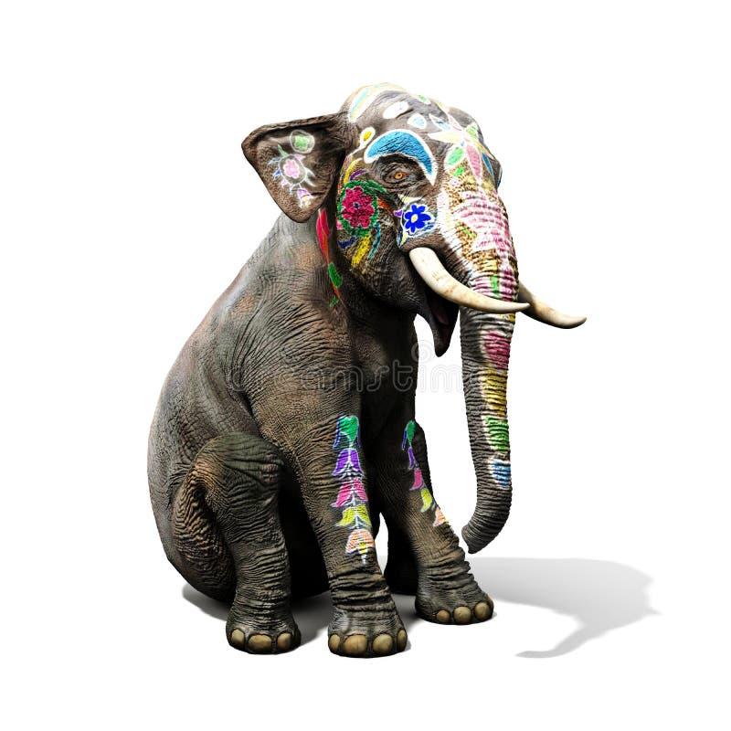 Bunter verzierter Elefant mit großer Tradition in Indien, das sich mit einem lokalisierten weißen Hintergrund hinsetzt stockfotos