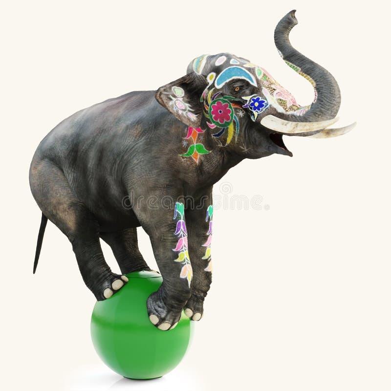 Bunter verzierter künstlerischer Zirkuselefant, der einen Balanceakt auf einem grünen Ball mit einem lokalisierten weißen Hinterg vektor abbildung