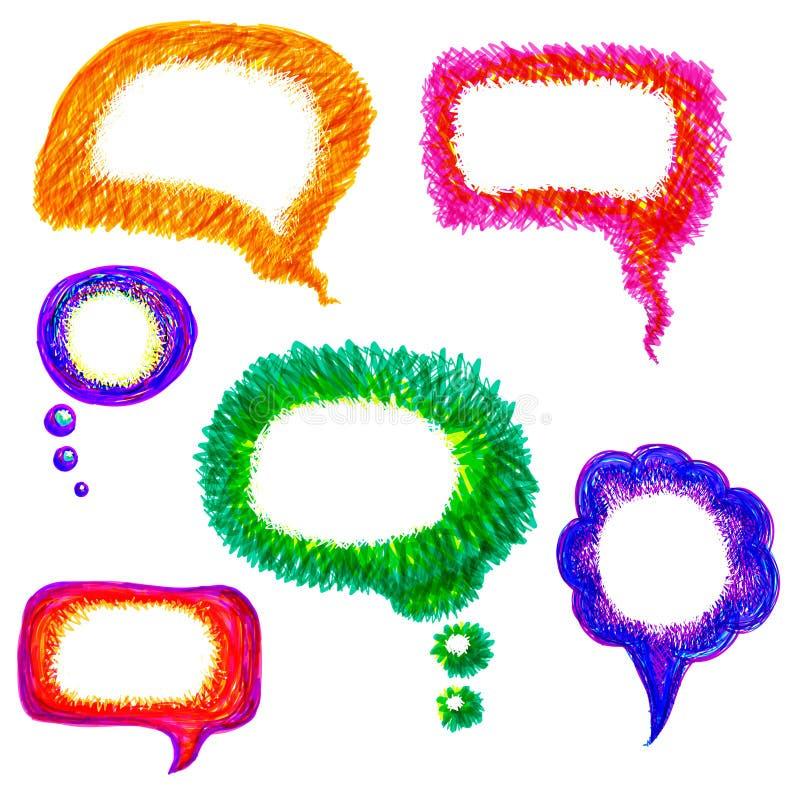 Bunter von Hand gezeichnet Spracheluftblasenvektorsatz stock abbildung