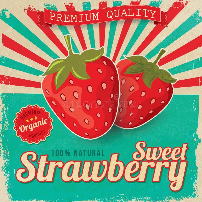 Bunter Weinlese Erdbeeraufkleber lizenzfreie abbildung