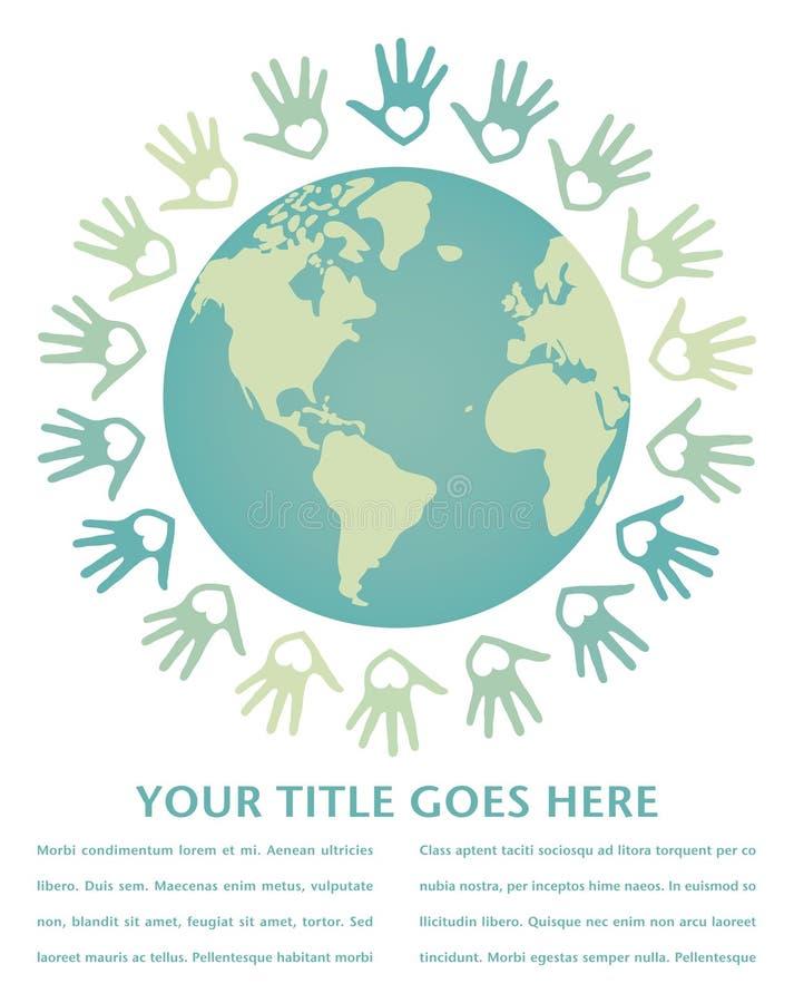 Bunter Weltfrieden und Einheitauslegung. lizenzfreie abbildung