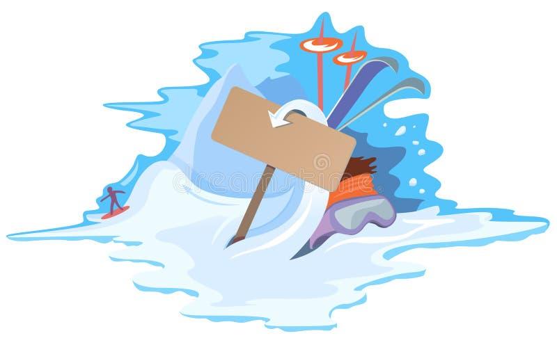 Bunter Wintersport und Ferienauslegung lizenzfreie abbildung