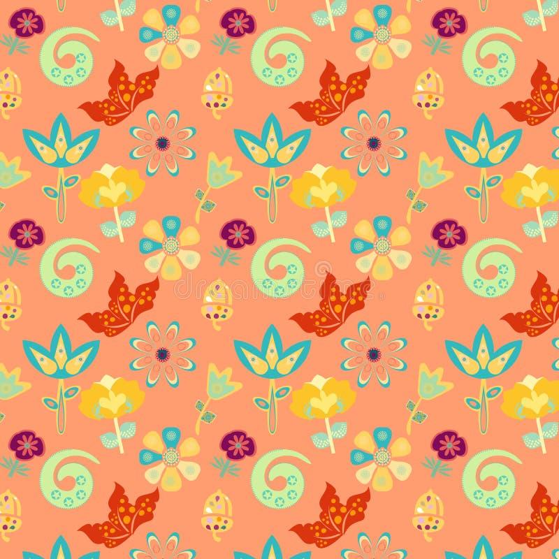 Bunter wunderlicher netter Garten in einem nahtlosen Muster lizenzfreie abbildung
