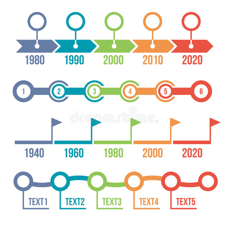 Bunter Zeitachse Infographic-Satz stock abbildung