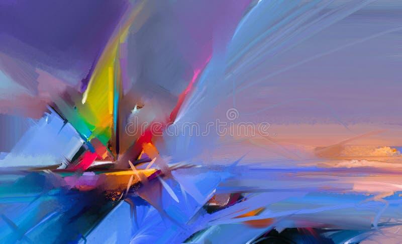 Buntes Ölgemälde auf Segeltuchbeschaffenheit Halb- abstraktes Bild von Meerblickmalereien mit Sonnenlichthintergrund stock abbildung