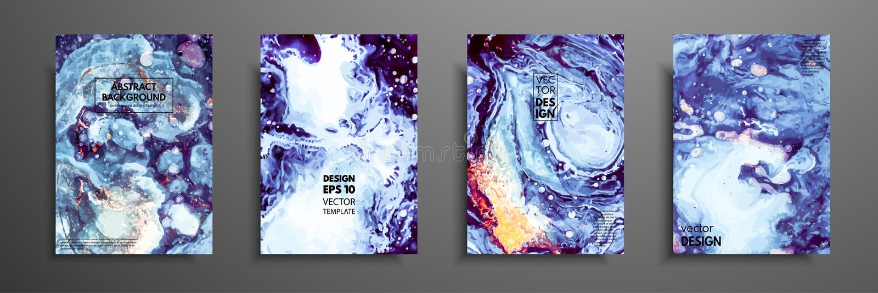 Buntes Abdeckungsdesign eingestellt mit Beschaffenheiten Nahaufnahme der Malerei Abstrakter heller handgemalter Hintergrund, flüs stock abbildung