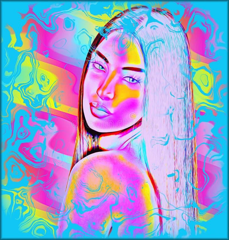Buntes abstraktes digitales Kunstbild des Gesichtsabschlusses einer Frau oben vektor abbildung