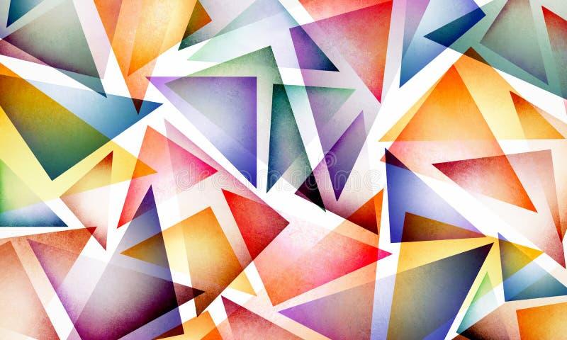 Buntes abstraktes Dreieckmuster auf weißem Hintergrund, buntem hellem und Spaßdesign mit Schichten geometrischen Formen lizenzfreie abbildung