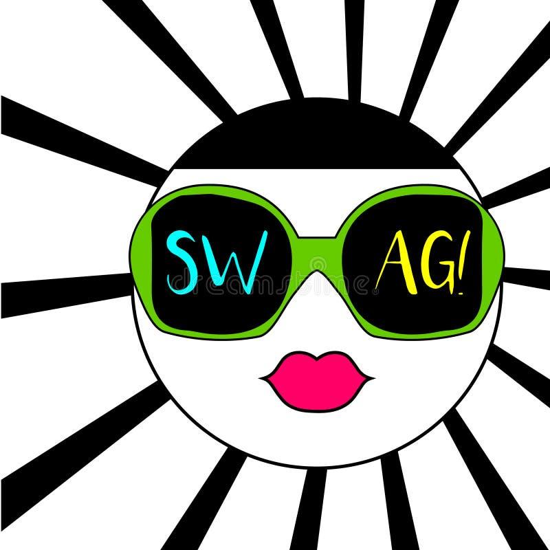 Buntes abstraktes Gesicht in der Sonnenbrille und Swag simsen stock abbildung