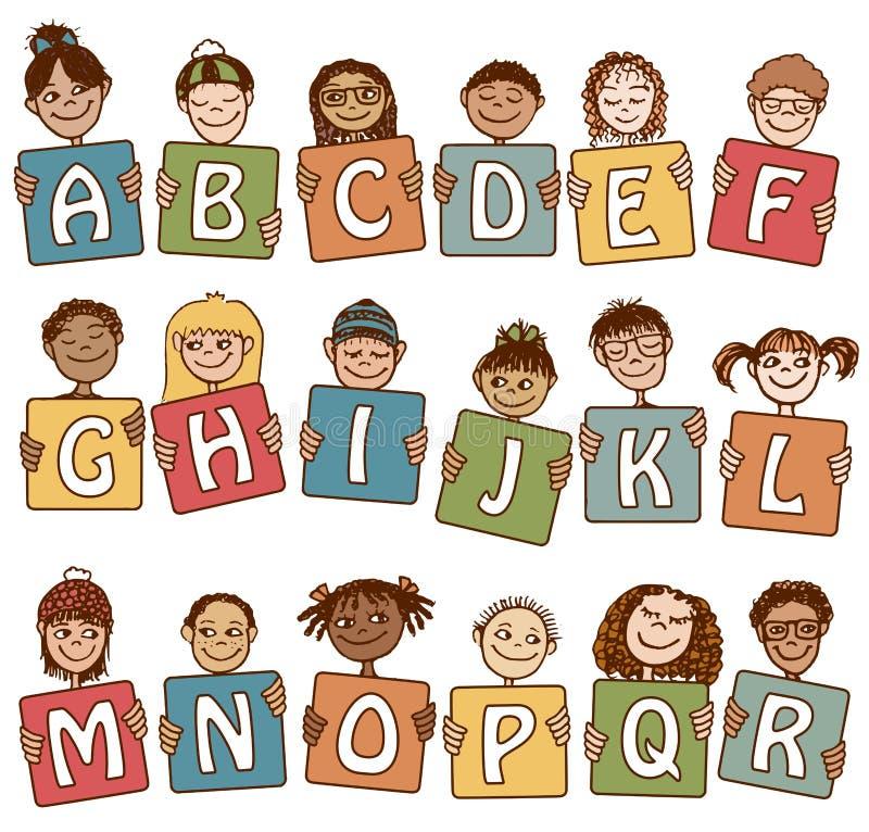 Buntes Alphabet beschriftet A - R lizenzfreie abbildung