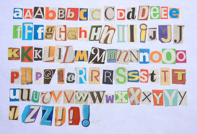 Buntes Alphabet der Zeitung 26 stockfotografie