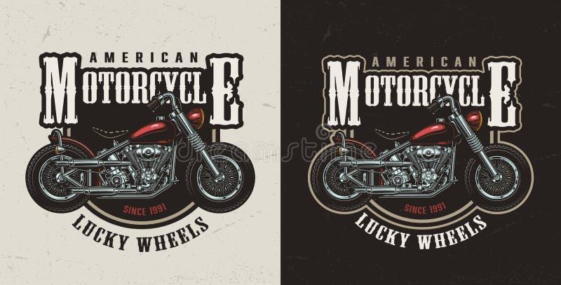 Buntes amerikanisches kundenspezifisches Motorradfirmenzeichen stock abbildung