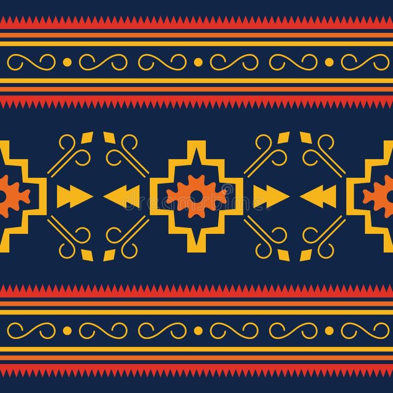 Buntes aztekisches nahtloses Muster Ethnische geometrische Verzierung lizenzfreie abbildung
