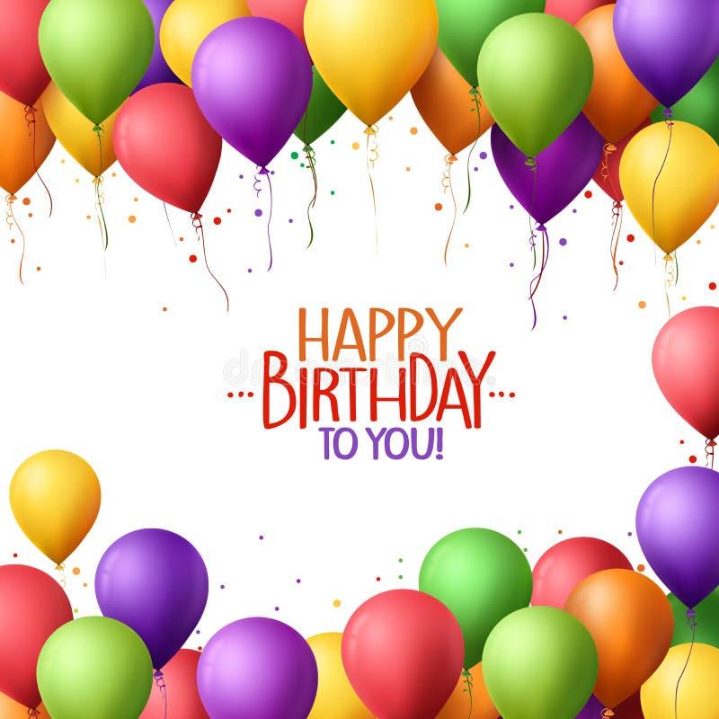 Buntes Bündel von alles Gute zum Geburtstag steigt Fliegen für Partei im Ballon auf stock abbildung