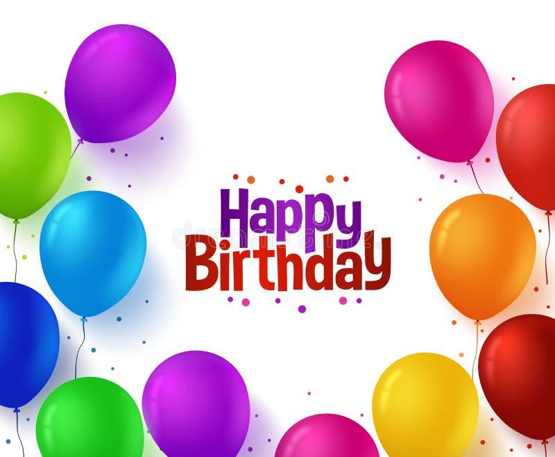 Buntes Bündel von alles Gute zum Geburtstag steigt Hintergrund im Ballon auf stock abbildung